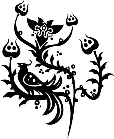Chinese Floral Design - Vinyl-ready vector image! Vector