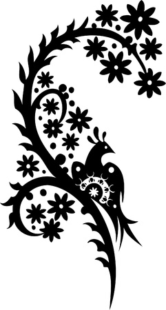 Chinese Floral Design - Vinyl-ready vector image!