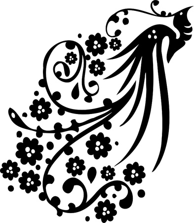 tatouage oiseau: Chinoise Floral Design - image vectorielle Vinyl-pr�t!