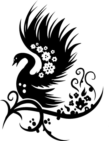 east asian ethnicity: Chinese Floral Design - Vinyl-ready vector image!