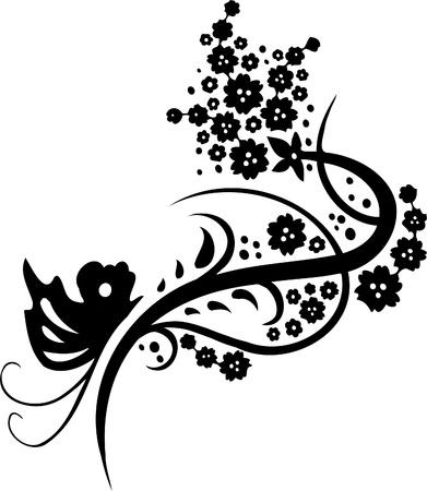Chinoise Floral Design - image vectorielle Vinyl-prêt!
