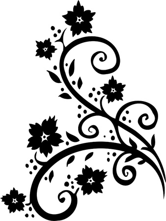 Chinese Floral Design - Vinyl-ready vector image!  Stock Vector - 11761554