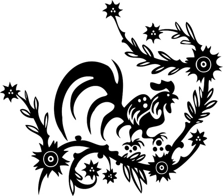 Chinese Floral Design - Vinyl-ready vector image! Vector Illustration