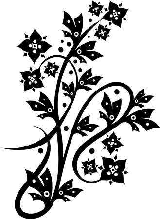 japanese ethnicity: Chinese Floral Design - Vinyl-ready vector image!