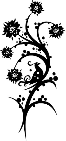traditional tattoo: Chinese Floral Design - Vinyl-ready vector image!
