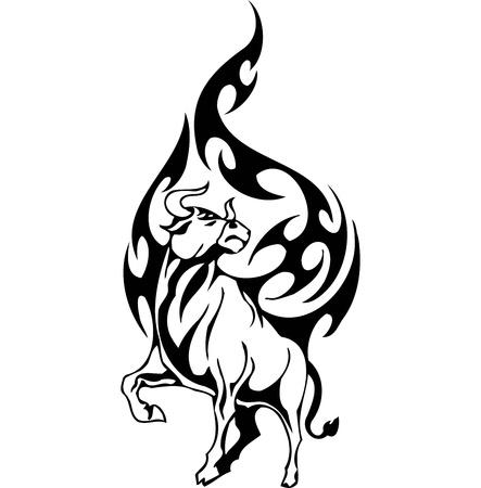 corrida: Bull dans le style tribal - vecteur d'image. Illustration