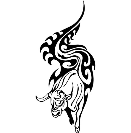 Bull in tribal style - vector image. Stock Vector - 12490200