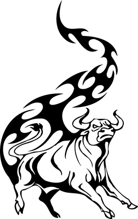 charging bull: Bull in tribal style - vector image. Illustration