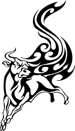 Bull in tribal style - vector image. Stock Vector - 12490402