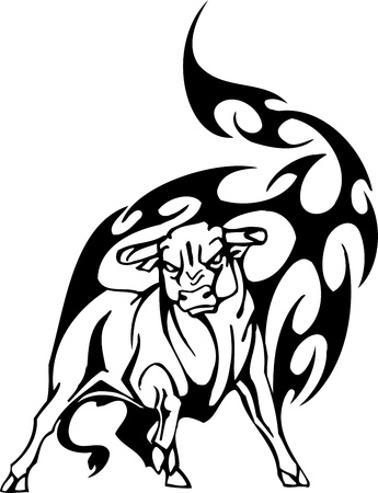 muscular build: Bull in tribal style - vector image. Illustration