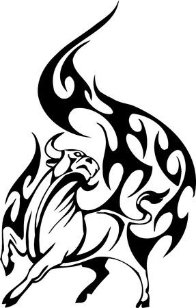Bull in tribal style - vector image. Stock Vector - 12490007