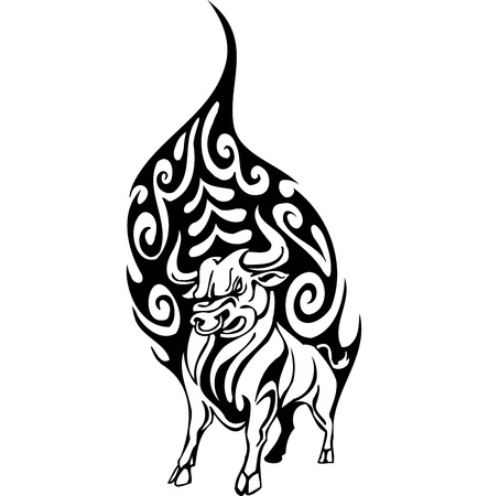 Bull in tribal style - vector image. Stock Vector - 12490414