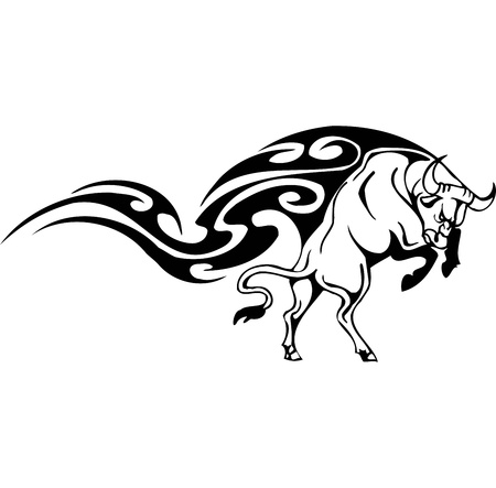 charging bull: Bull in tribal style