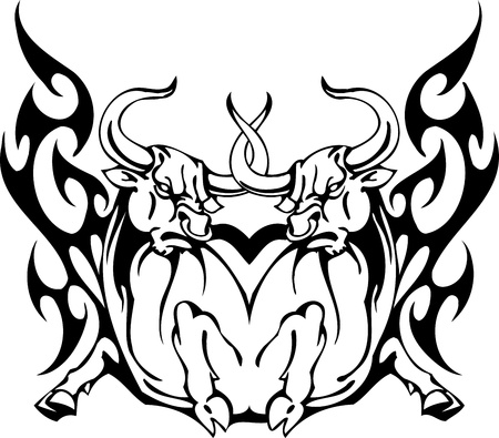 Bull in tribal style - vector image. Stock Vector - 12490490