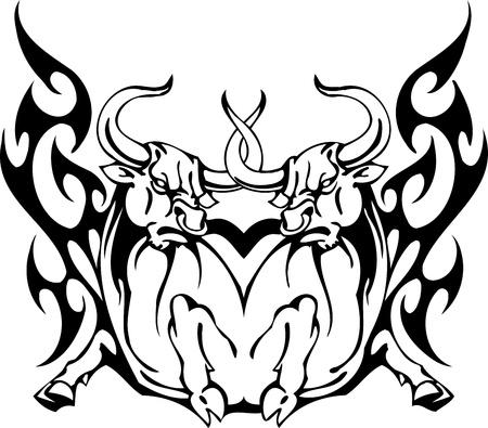 toreador: Bull in tribal style - vector image. Illustration