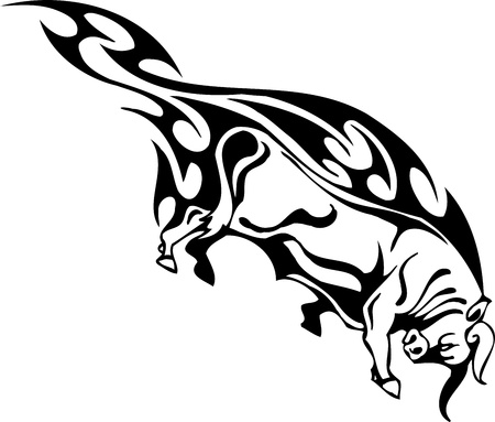 Bull in tribal style - vector image. Stock Vector - 12490186