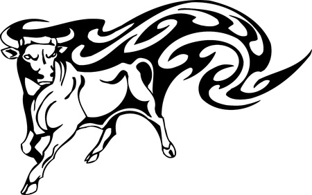 buffalo bison: Bull in tribal style - vector image. Illustration
