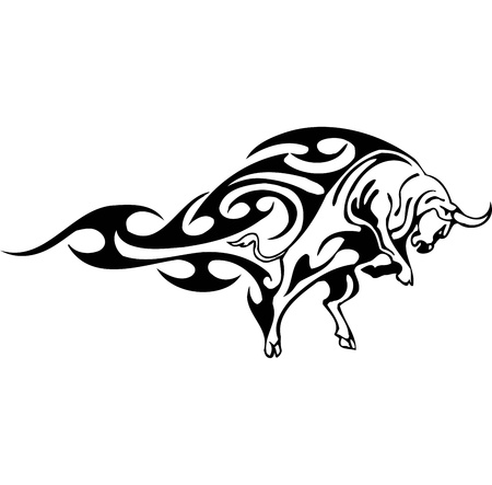 Bull in tribal style - vector image. Stock Vector - 12490012