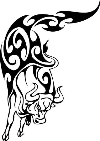 Toro en el estilo tribal - vector de imagen. Foto de archivo - 12490196