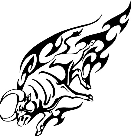 Bull in tribal style - vector image. Stock Vector - 12490312