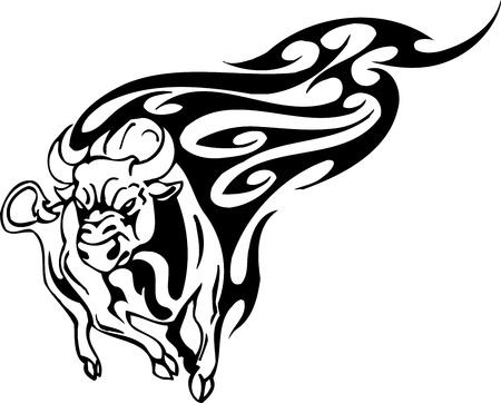 Bull in tribal style - vector image. Stock Vector - 12490407