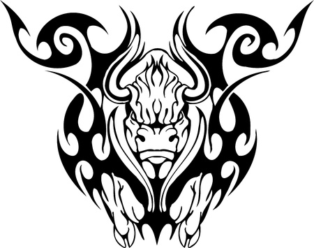 Bull in tribal style - vector image. Stock Vector - 12490417