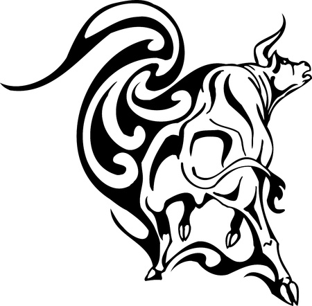 Bull in tribal style - vector image. Stock Vector - 12490313
