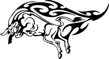 Bull in tribal style - vector image. Stock Vector - 12490310