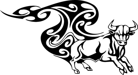 Bull in tribal style - vector image. Stock Vector - 12490412