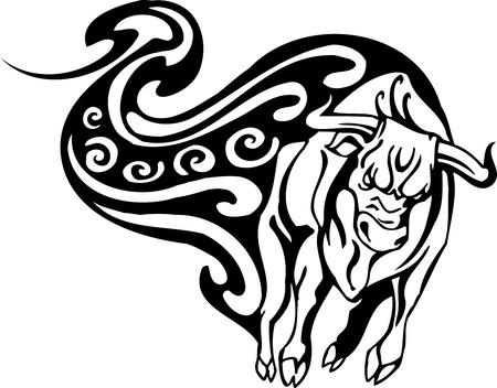 Bull in tribal style - vector image. Stock Vector - 12490418