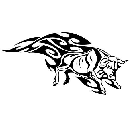 Bull in tribal style - vector image. Stock Vector - 12490306