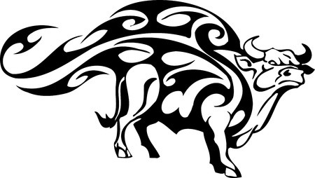Bull in tribal style - vector image. Stock Vector - 12490008