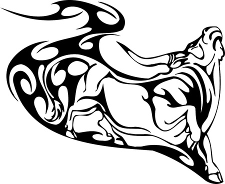 Bull in tribal style - vector image. Stock Vector - 12490426
