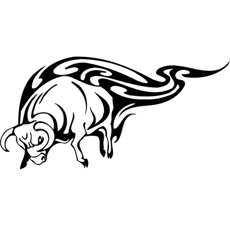Bull in tribal style - vector image. Stock Vector - 12490003