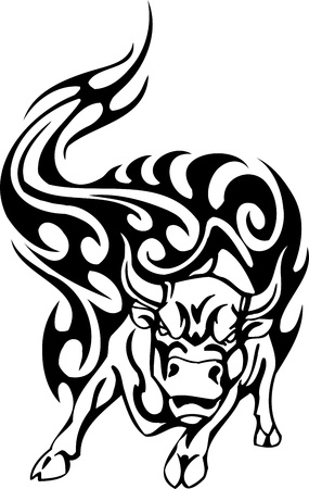tourada: Bull in tribal style - vector image. Ilustra��o
