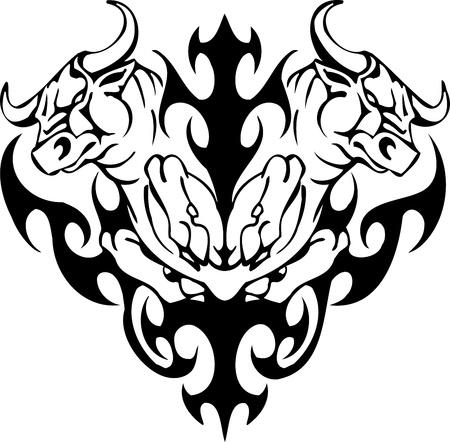 toro: Bull in stile tribale - immagine vettoriale.