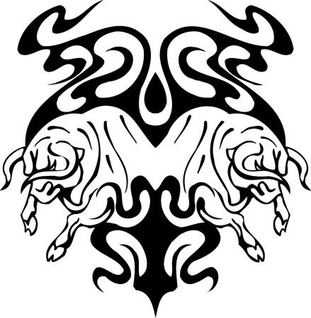 Bull in tribal style - vector image. Stock Vector - 12490415
