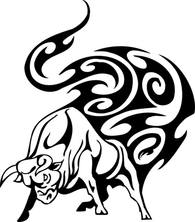 Bull in tribal style - vector image. Stock Vector - 12490308