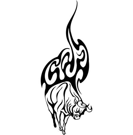 Bull in tribal style Vector