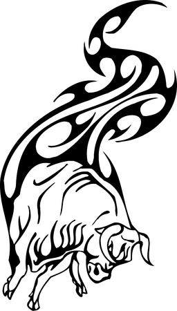 Bull in tribal style - vector image. Stock Vector - 12490325