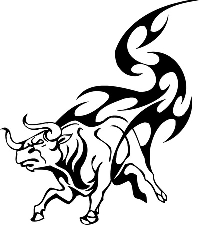 Bull in tribal style - vector image. Stock Vector - 12490018