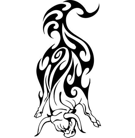 Bull in tribal style - vector image. Stock Vector - 12490185