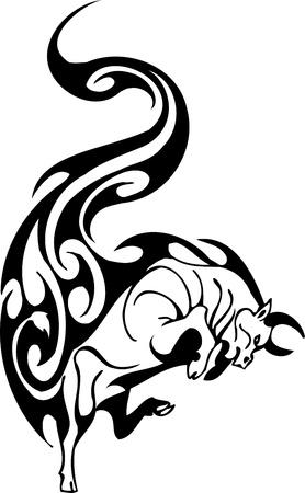 toreador: Bull in tribal style