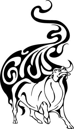 brave of sport: Bull in tribal style - vector image. Illustration