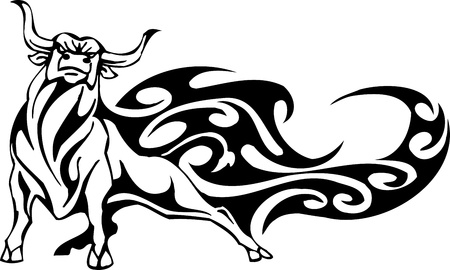 Bull in stile tribale - immagine vettoriale.