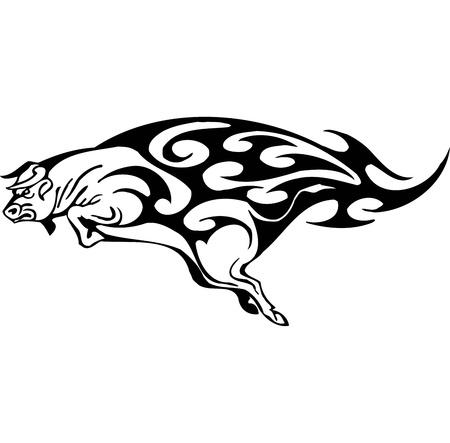 Bull in tribal style - vector image. Stock Vector - 12490021