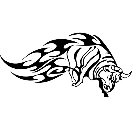 bison: Bull in tribal style - vector image. Illustration
