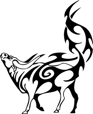 Bull in tribal style - vector image. Illustration