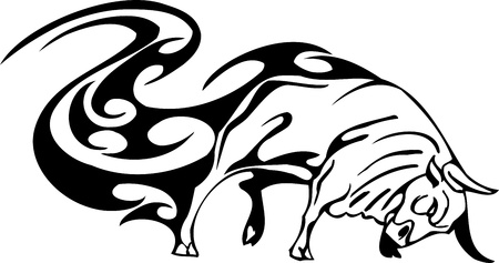 Bull in tribal style - vector image. Stock Vector - 12490013