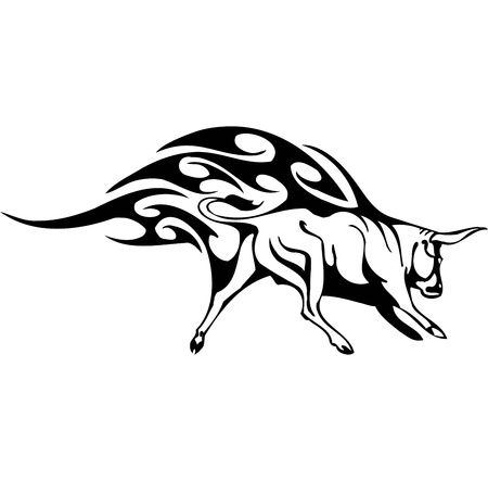 Bull in tribal style - vector image. Stock Vector - 12489773